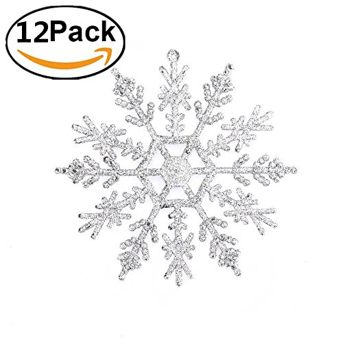 Zogin 12 STK Weihnachten Schneeflocken Stern Schnee 11cm mit Mit Flash-Power Weihnachtssterne Dekostern Fensterdeko Tischdeko (Silber)