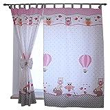 2er Set Gardinen Kinderzimmer Vorhänge mit Schlaufen und Schleifen 155x95 cm Dekoschal Schlaufenschal , Farbe: Eulen 2 Rosa, Größe: ca. 155x95 cm
