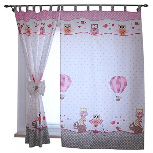 TupTam Kinderzimmer Vorhäng 2er Set mit Schleifen 155x95cm, Farbe: Eulen 2 Rosa, Größe: ca. 155x95 cm