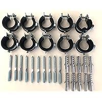 """Sparset ---- 10 Stück Schraubrohrschelle 31-36 mm 1"""" mit Stockschraube 8x80 und Dübel 50x10"""