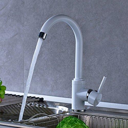 BONADE Monomando Grifo para Fregadero 360° Giratorio Grifería de Cocina Grifo de Cocina de Agua Caliente y Fría, Blanco