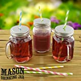 Set of 6 Mason Glass Drinking Jars with Lid & Handle. Ideal for Cocktails Smoothies