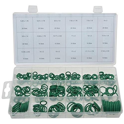 Preisvergleich Produktbild ALKAN O-Ring Dichtring Set 270 tlg. HNBR Dichtung-Satz GRÜN - Für R134a KFZ Klimaanlage temperaturbeständig (in der Aufbewahrungsbox / Sortimentsbox)