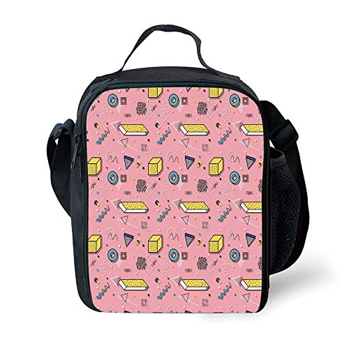 ZKHTO School Supplies Geometric,Artistic 3D Style Shapes in Memphis Style Mathematics Funky Colorful Doodles,Multicolor for Girls or Boys Washable