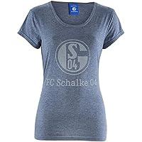 FC Schalke 04 FC Gelsenkirchen-Schalke 04 EV Herren T-Shirt Damen Basic Meliert Größe 2XL