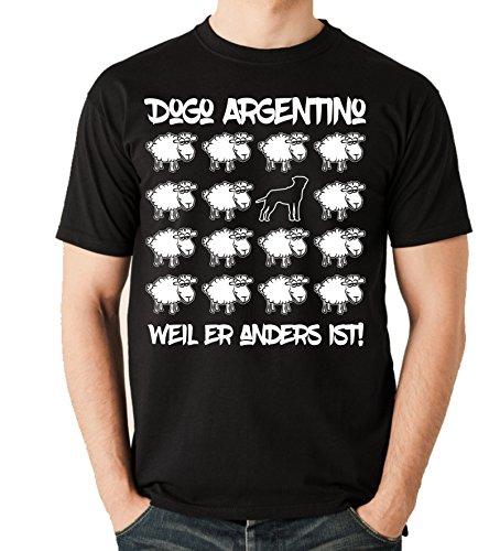 Siviwonder Unisex T-Shirt BLACK SHEEP - DOGO ARGENTINO - Hunde Fun Schaf Schwarz