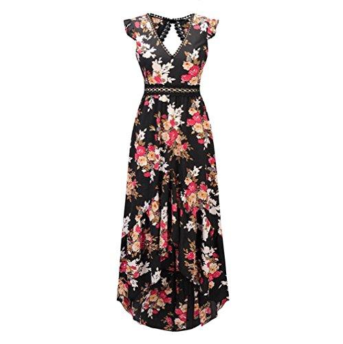FXFAN Frauen Flying Sleeve Unregelmäßige Zurück Drucken Rock Süßes Kleid Mädchen Strand Meer Kleid (Farbe : Schwarz, Größe : XL) -