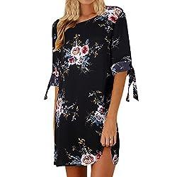 VEMOW Elegante Damen Blumendruck Bowknot Ärmeln Chiffon Cocktail Minikleid Casual Täglichen Party O-Ausschnitt Kleid(Schwarz, 42 DE/M CN)