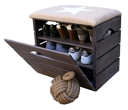 Liza line scarpiera di legno (talpa) con anta basculante, sedile rivestito di tessuto. panca portaoggetti con ripiani multiuso per conservare e scarpe. pino nordico massiccio - 51 x 45 x 36 cm (stella bianca)