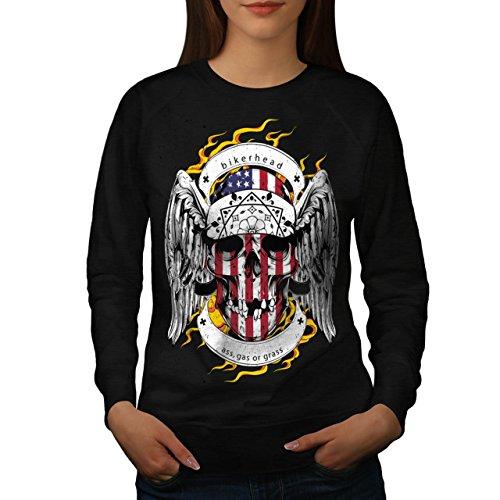 Schädel Motorradfahrer Kopf Gesicht USA Damen M Sweatshirt   Wellcoda (Basketball-gesicht Schild)
