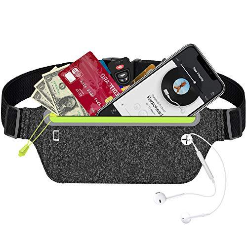 Winzwon Hüfttasche, Sport Hüfttasche, Bauchtasche, wasserdichte Hüfttasche mit Kopfhöreranlass für Camping Wandern und Reisen Joggen für Damen, Herren und Kinder (Hanf schwarz) -