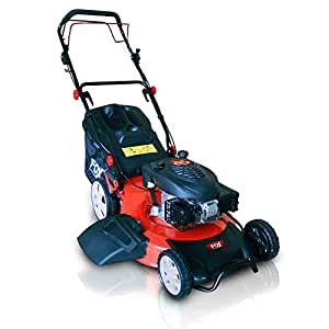 "BIG FOX 22"" (550mm) Self Propelled 4 in 1: Cut, Cut & Collect, Mulch, Side Discharge 4-Stroke Petrol Engine Lawn Mower 6.5HP Recoil Start, 60L Grass Collection Bag and Fitted Lawn Striper"