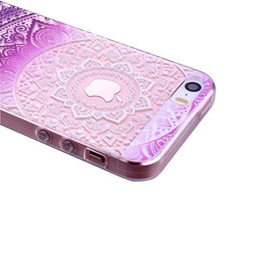 SMARTLEGEND Custodia in Silicone per Apple iPhone 5 5S SE, Gomma TPU Copertura Protettiva Soft Case, Bumper Cover Morbida Flessibile Caso Ultra Sottile Coprire Anti-graffio Cover Antiurto con Girasoli Lila