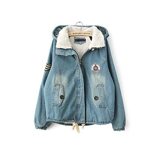 Mantel Jacke Mädchen Winter-Frauen der Jeans niedlich Zuckerwatte ¨ ® n des Hoodie der Reißverschluss des Drell% ¨ ® n (Für Jean-jacken Frauen Niedlich)