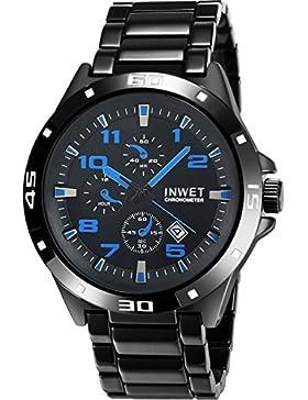 [Gesponsert]INWET Herren Armbanduhr mit Schwarz Zifferblatt Analoge Anzeigen und Überzogen Legierung Armband