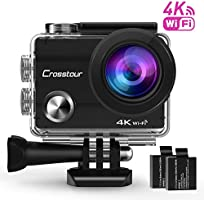 "Crosstour Action Camera 4K Wifi Ultra HD Underwater Cam 98ft 2"" LCD 170° Wide angle with 2 Rechargeable 1050mAh Batteries and Accessory Kits for Cycling Swimming Snorkeling"