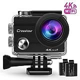 """Crosstour Action Cam 4K Camera WIFI Unterwasser Kamera Ultra HD 2 """"LCD Wasserdichte 30M 170 °Ultra-Weitwinkel mit 2 wiederaufladbare 1050mAh Batterien und Zubehör-Kits für Radfahren Schwimmen Tauchen"""