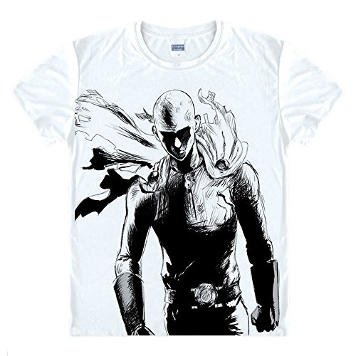 One Punch Man T-Shirt Saitama Kostüm Cosplay Weiß (Man Shirt Kostüme)