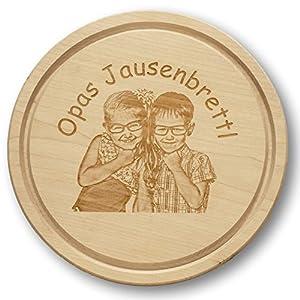 Schneidbrett/Holzbrett/Küchenbrett/Jausenbrett rund | ca.250mm | mit persönlichem Foto graviert | Wunschgravur