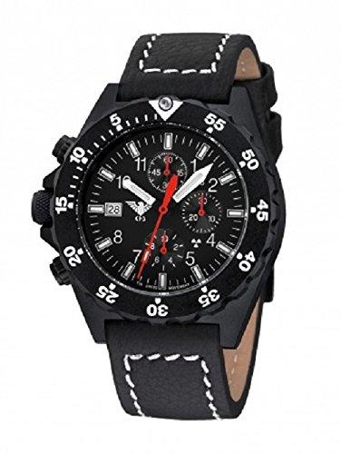 KHS Shooter Chronograph Armbanduhr mit Lederband Büffel-Leder, KHS.SHC.LBB, Schwarz