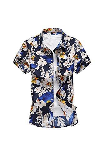 Yacun Hombres Camisas Hawaianas Causal en Playa Verano Manga Corta Algodón para Vacaciones Tops FloreArmada M
