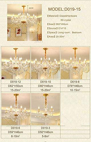 DEJ K9 Kristall Kronleuchter Beleuchtung Gold Kerze Led Anhänger Hängende Salon Lampe Leuchten, 6 Lichter -