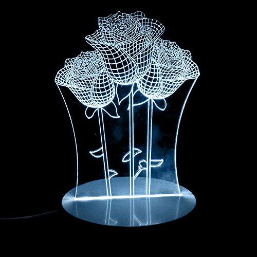 Licht in House® 3D-LED-Licht, 3D Visual LED Night Lights 7Farben wechseln für Kinder Touch USB Tisch Lampe Baby Schlafzimmer Nachtlicht Weihnachten Geschenke mit 24Key Fernbedienung, rose (Rose Touch-lampe)