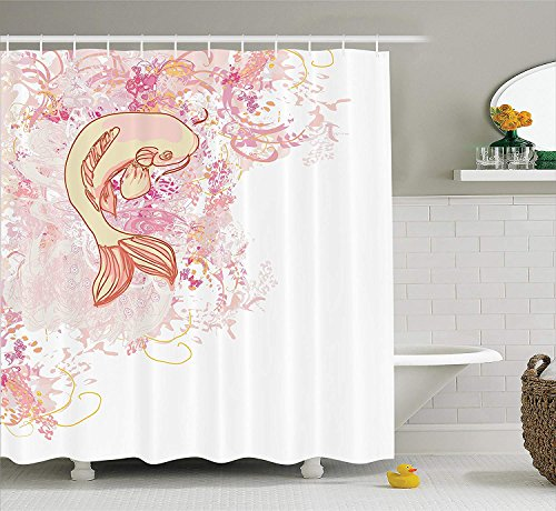 Not afraid Girly Decor Shower Curtain Set, Young Girl with Tattoos and Butterflies Free Your Soul Inspired Long Hair Feminine Image, Bathroom Accessories, 60 x 72 inches Long, Purple White