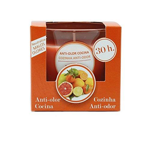 Ambientair Vela VV005LMA, Aroma de Anti Olor de Cocina, Cera, Naranja y Blanco, 12x12x12 cm