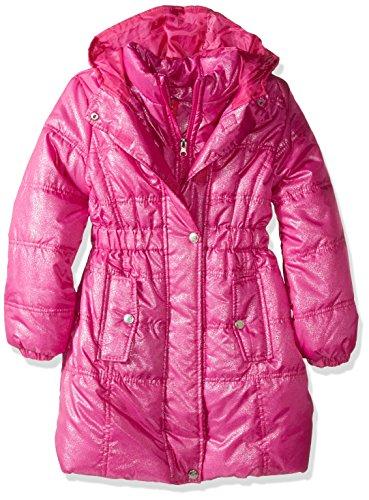 Pink Platinum Little Girls' Spray Foil Long Puffer Jacket, Bright Pink, 6X (Trench Animal Print Coat)