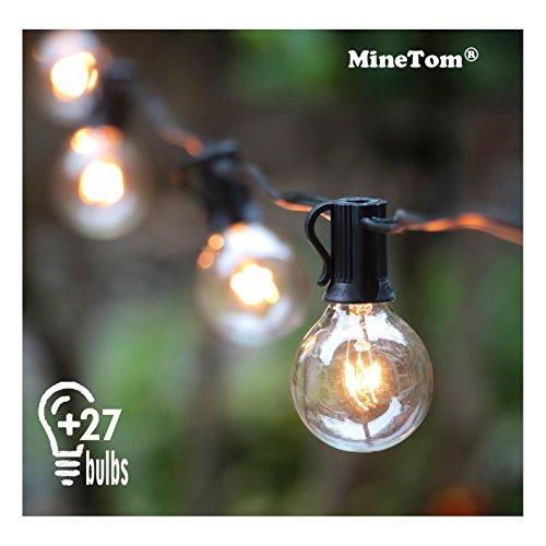 G40 Globe Lichterkette-7.6Meters Globus Schnur Licht mit 27 Glühbirnen-Innen/Außen Hängendes Licht String für Patio, Café Bars, Garten Hinterhof Gazebos Schlafzimmer Pergola Dekoration, Schwarz (Globe Glas Lichterketten)