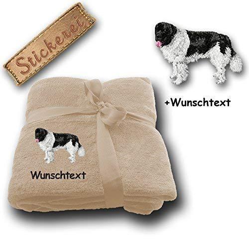 Kuscheldecke Landseer M1 + Wunschtext (Sand)