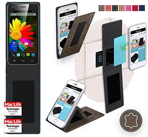 reboon Hülle für Elephone P7 Mini Tasche Cover Case Bumper | Braun Wildleder | Testsieger