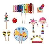 MagiDeal Mini Musikinstrument (inkl. Hand Tamburin, Sand Hammer , Kastagnetten , Handglocke, Rassel, Tonröhre Baby Spielzeug - 10pcs