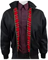 Warrior Black Harrington Jacket with Red Tartan Lining - ALL SIZES AVAILABLE