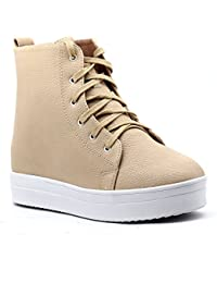 Shuberry Latest Footwear Collection, Comfortable & Fashionable Fabric, Beige Colour Faux Leather Sneakers for Women's & Girl's (SB-275)