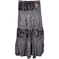 Womens Gypsy Skirt Velvet Lace Grey Tiered Purple Gray Embroidered Long Skirts