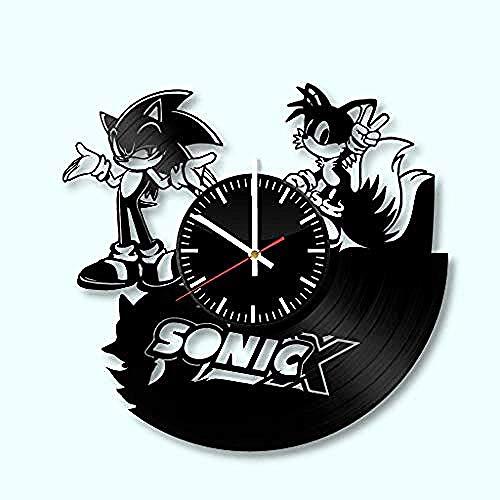 Yddlie Vinyl-Uhr - Sonic Wall Art Room Decor handgefertigte Dekoration Party Supplies Theme - Beste originelle Geschenkidee - Vintage und Moderne Stil-Without_LED @ Without_led