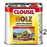 CLOUsil Holzlasur Holzschutzlasur für außen mahagoni Nr. 03, 2×2.5L: Wetterschutz, UV-Schutz, Nässeschutz und Schimmel für alle Holzarten - in verschiedenen Farben