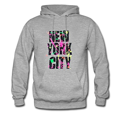 HGLee Printed DIY Custom New York City Women's Hoodie Hooded Sweatshirt Gray--2