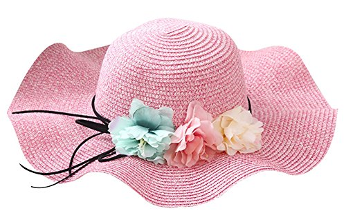 FEOYA Sombrero de Paja Plegable Gorro de Vestir Pamelas con Flores con Ala  Grande Protección UV b2e213c7e7d7