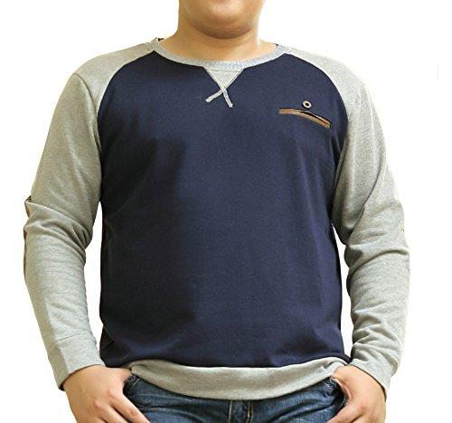 Herrenhemd Größe Größe Langarm T-Shirts mit Rundhalsausschnitt Sweatshirt - XXL/3XL/4XL/5XL/6XL/7XL Saphirblau