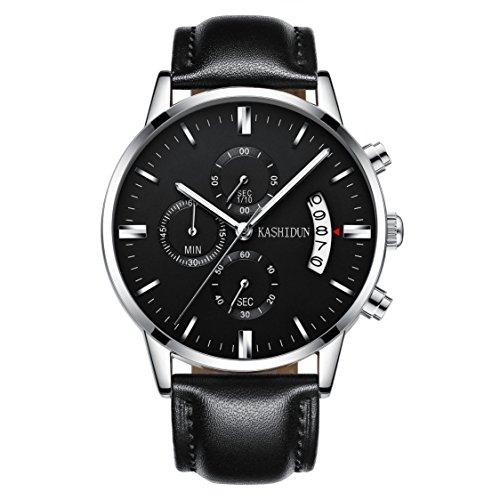 Kashidun Herren Sports Fan Uhren Casual Quarz Wasserdicht Chronograph Datum Leder watches-black. tl-yhp