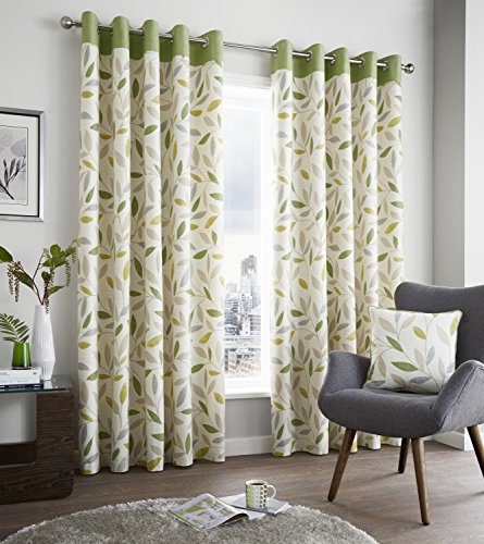 Fusion U0027Beechwoodu0027 100% Cotton Face Modern Green And Beige Leaf Trail With  Contrasting Top Border On Light Cream Ground Lined Eyelet Curtains, 66x72 Part 72
