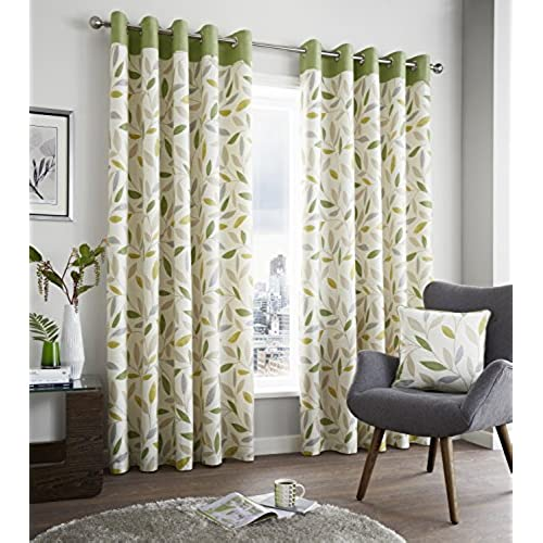 green curtains for living room. Fusion  Beechwood 100 Cotton Face Modern Green and Beige Leaf Trail with contrasting Top Border On Light Cream Ground Lined Eyelet Curtains 66x72 for Living Room Amazon co uk