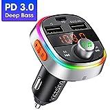 【Graves Profundos Sonido】Transmisor FM Bluetooth para Coche VicTsing, Bluetooth Coche Mechero con PD3.0 18W Carga Rápida, Llamadas Manos Libres, LED 7 Colores, 3 Puertos USB, Soporte U-Disk/Tarjeta TF