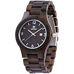 Natural Black Sandalwood Watch Unisex Quartz Wood Wristwatch for Men Women with Date Display