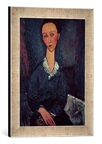 Gerahmtes Bild von Amedeo Modigliani Portrait of a Woman with a White Collar, Kunstdruck im hochwertigen handgefertigten Bilder-Rahmen, 30x40 cm, Silber Raya - Amedeo Modigliani Gerahmte Leinwand