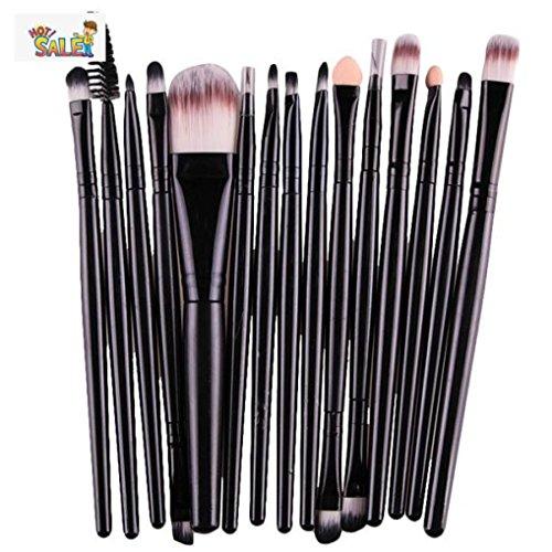 Sensail 15 Pcs Maquillage Pinceaux Ensemble Complet Poudre Fondation Fard À Paupières Eyeliner Lèvres Brosse Cosmétique (13 ~ 15 cm, Noir)