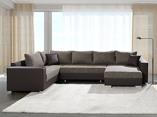 Sofa Couchgarnitur Couch Sofagarnitur PUEBLA mit Schlaffunktion U Polstergarnitur Polsterecke Wohnlandschaft mit Schlaffunktion